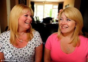 Best friends for 16 years, two women discover that they are half-sisters after Alison, right, tracked down her birth mother.